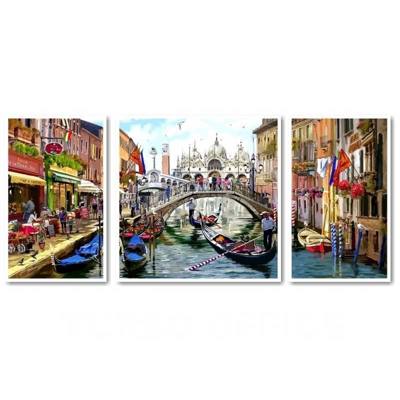 Картина по номерам Babylon VPT043 Венеция во всей красе 50х150см рисование по  номерам Триптихи