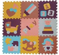 """Детский коврик-пазл BabyGreat """"Интересные игрушки"""", 92х92 см, розово-зеленый, GB-M1707"""