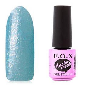 Гель-лак F. O. X. 6 мл Masha Create №919 на прозорій підкладці блакитного кольору, з голографічного слюдою