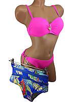 Купальник бандо с высокой талией и плавками на завязках Sisianna 91009 малиновый 42 44 46 48 50 размер