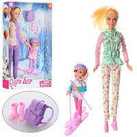 Кукла Defa 29см, дочка 3см, лыжи, рюкзак, 2 вида, 8356