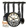 Красивые часы для кухни черные Повар 35 см