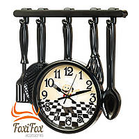 Красивые часы для кухни черные Повар 35 см, фото 1