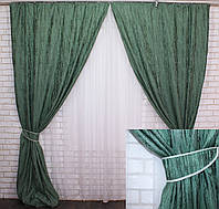 "Комплект готовых светонепроницаемых штор,коллекция блэкаут ""Лён Короед"", цвет зелёный .Код 484ш (А)30-230, фото 1"