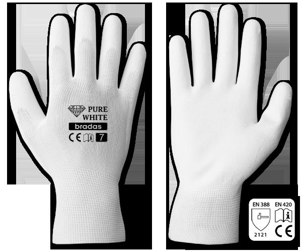 Перчатки защитные PURE WHITE полиуретан, размер 8, RWPWH8 Bradas лидер на рынке ЕС