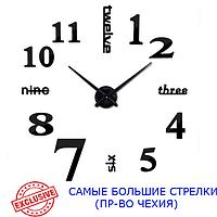 Часы настенные 3D 130 см Najlepsi Cas (Чехия) Надписи черные [Металл+пласт] большие наклейки бескаркасные