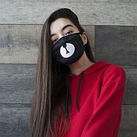 Женская маска защитная тканевая многоразовая с рисунком c принтом
