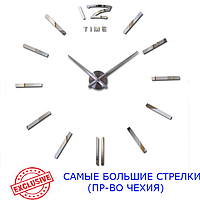 Часы настенные 3D 130 см Najlepsi Cas (Чехия) Палочки серебристые зеркальные [Металл+пласт] большие наклейки
