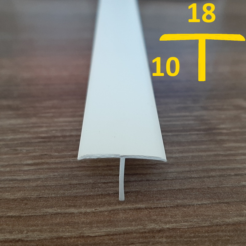 Профиль Т-образный пластиковый, для закрытия щелей 18 мм х 10 мм, 2,7 м Белый