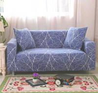 Универсальный натяжной еврочехол на двухместный диван (Синий с узором) 145-180 см накидка чехол, Мебель, надувная мебель и аксессуары