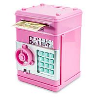 Копилка для детей музыкальная (розовый корпус, круглая розовая ручка, бирюзовые кнопки) детский игрушечный сейф, Копилки
