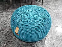 Пуфик декоративный бескаркасный вязаный спицами 55 см цвет морская волна