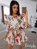 Цветочное короткое платье с пышными плечами 98-36