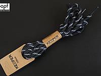 Шнурки (в упаковке) круглые, не вощеные, треккинговые 6 мм, 120 см, цв. чёрный с белым