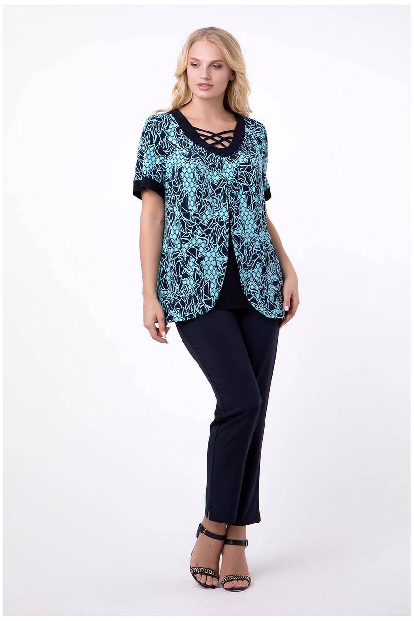 Женская блуза 50-62 бирюза