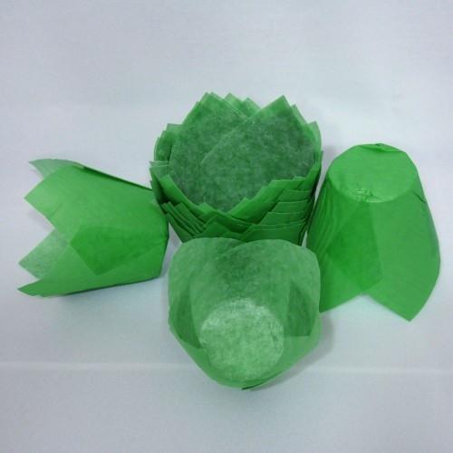 "Форма для кексов  ""Тюльпан"" зелёная"