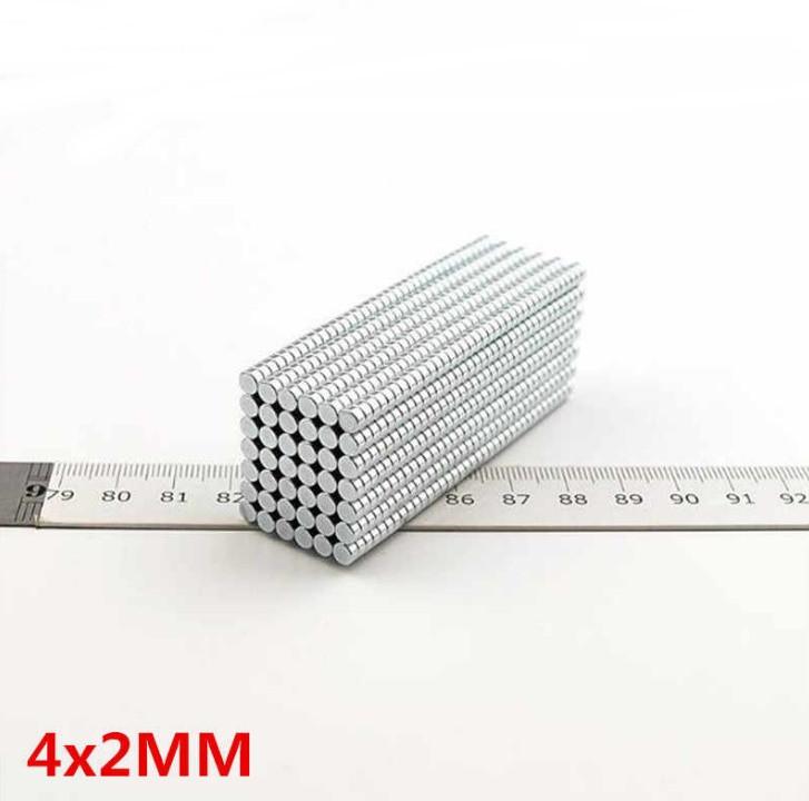 Магніт у формі диска 4х2 мм, неодимовий супер магніт 0,5 кг, N42●Польща●ВСІ РОЗМІРИ●
