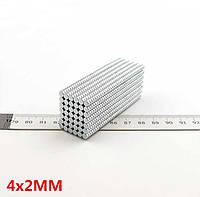 Магнит в форме диска 4х2 мм, неодимовый супер магнит 0,5 кг, N42●Польша●ВСЕ РАЗМЕРЫ●