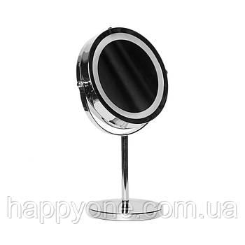 Двойное зеркало для макияжа с LED подсветкой (5x увеличение)
