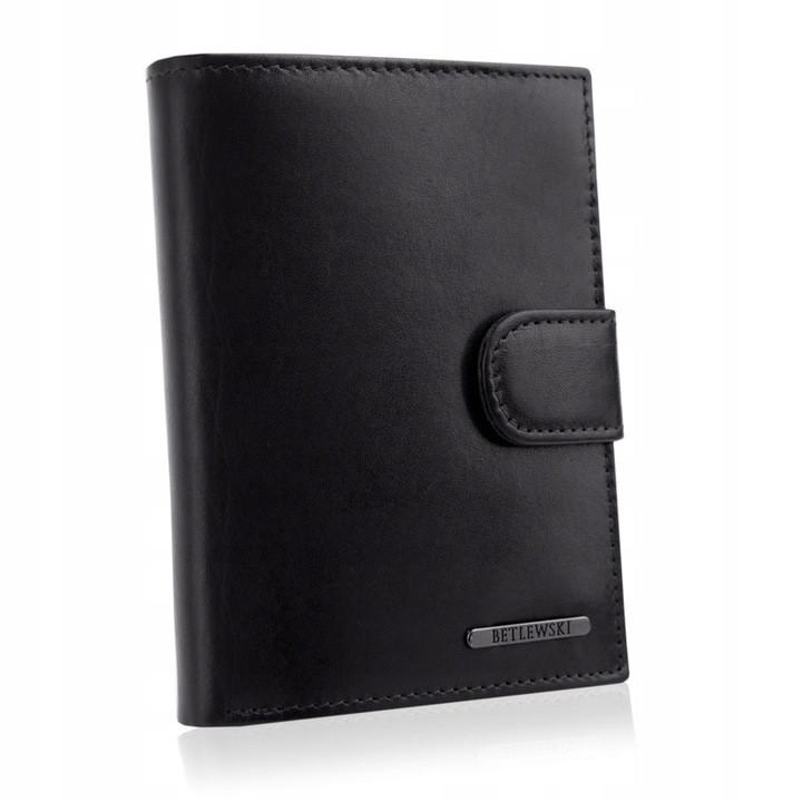 Чоловічий шкіряний гаманець Betlewski з RFID 12,4 х 9,5 х 3 (BPM-VTC-64) - чорний