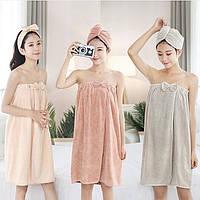Жіночий набір для лазні та сауни рушник халат, чалма сушка для волосся