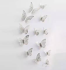 Бабочки 3D бумажные для декора 12 шт  серебро