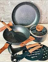 Набор посуды с мраморным покрытием  Edenberg Stone Line  - 15 предметов, фото 5