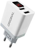 Сетевое зарядное устройство XoKo Original WC-350 с измерителем тока, 2 USB, 3.1A White