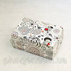 Коробка-контейнер для кондитерських виробів, кольорова Чорно-біла абстракція