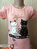 Детская футболка 2 кота черный и белый Турция  4, 5, 6, 7 лет