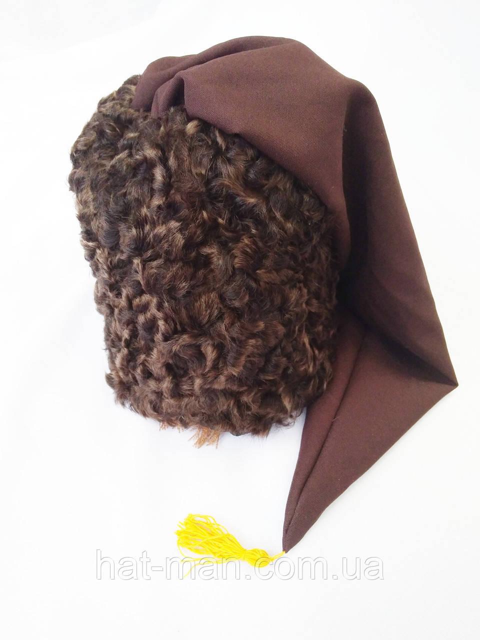"""Козацька шапка з фільму """"Пропала грамота"""" (коричневий каракуль і коричневий шлик)"""