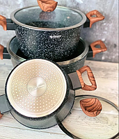 Набор посуды с мраморным покрытием  Edenberg Stone Line  - 15 предметов, фото 2