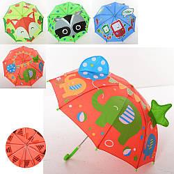 """Зонтик детский """"Животные"""", трость, ушки, ткань, 4 вида, MK4110"""