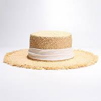 Шляпа женская соломенная пляжная шляпа с длинной лентой, фото 1