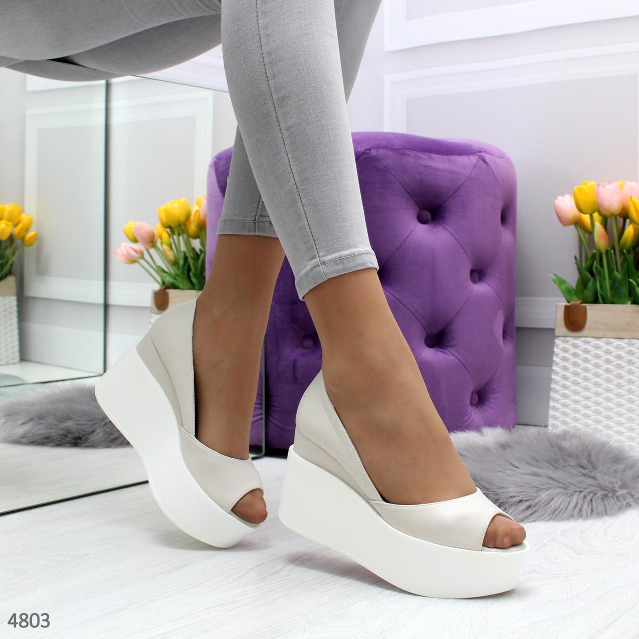 Туфли босоножки женские кожаные светлые с открытым носком на высокой платформе Claudia