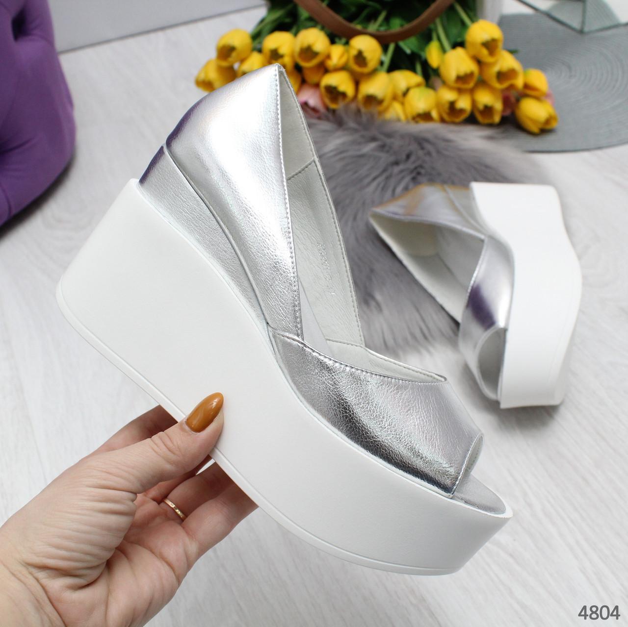 Туфли босоножки женские кожаные серебряные с открытым носком на высокой платформе Claudia
