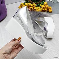 Туфли босоножки женские кожаные серебряные с открытым носком на высокой платформе Claudia, фото 1