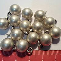 Пуговица металлическая сфера на ножке, матовая, цвет серебряный, диаметр 10 мм