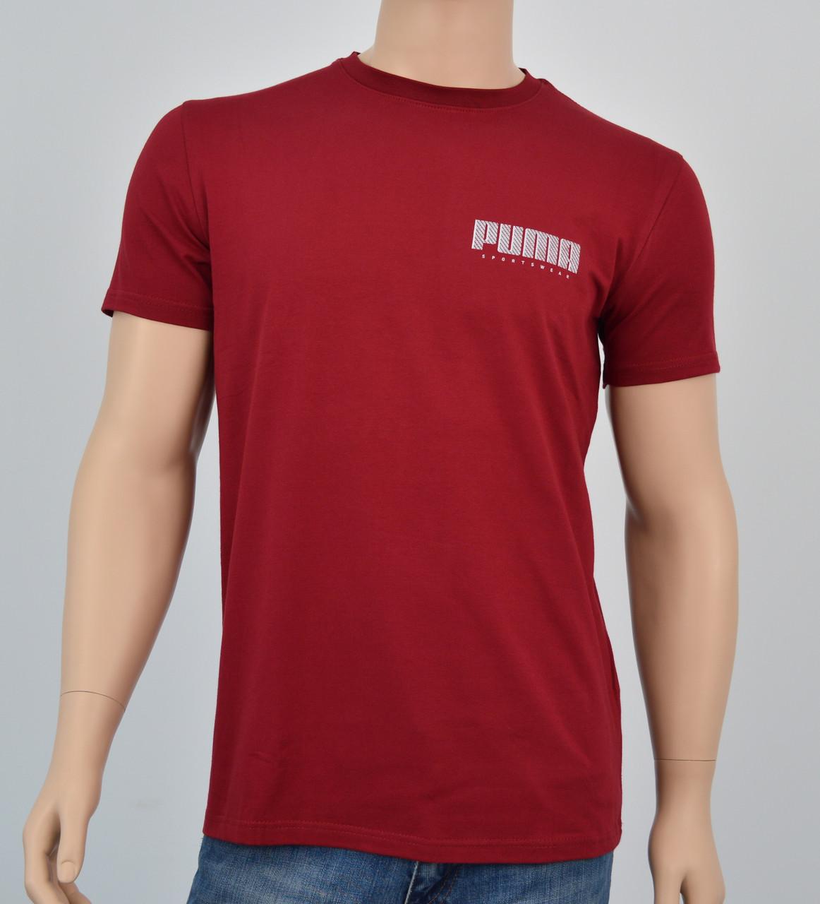 "Мужская футболка ""Премиум"" Puma(реплика) Бордо"
