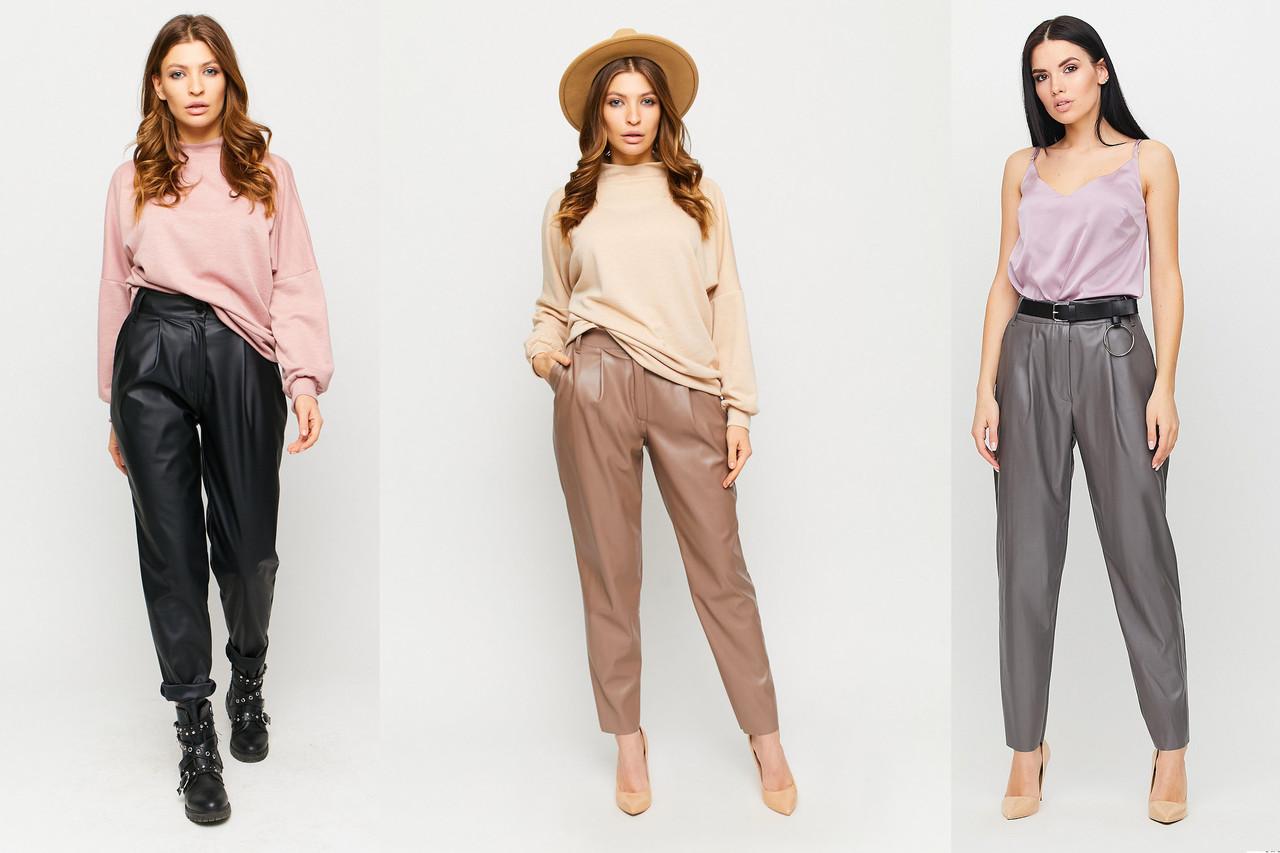 Укороченные кожаные свободные брюки /разные цвета, S, M, L, KR-5548/