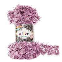 Турецкая пряжа петельками Puffy Alize fur , сиреневого цвета 6103, меховая пряжа петельками