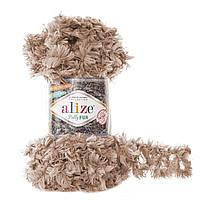 Турецкая фантазийная пряжа петельками Пуффи Фур Puffy Alize fur , бежевого цвета 6104