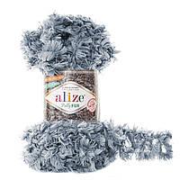 Турецкая меховая пряжа петельками пряжа Puffy Alize fur , серого цвета 6107