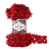 Турецкая фантазийная пряжа Puffy Alize fur , 6109 красного цвета, меховая пряжа петельками