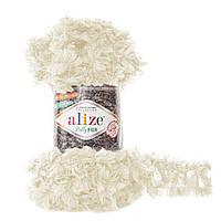 Турецкая фантазийная пряжа Puffy Alize fur , молочного цвета 6113