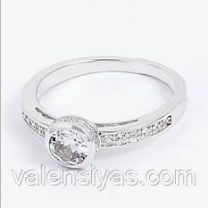 Серебряное родированное кольцо с круглым фианитом