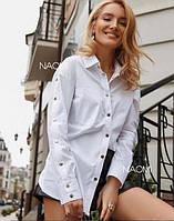 Женская стильная блузка декорирована кнопками, фото 1