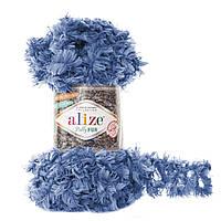 Турецкая меховая пряжа петельками пряжа Puffy Alize fur , синего цвета 6116