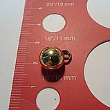 Пуговица металлическая сфера на ножке, цвет винтажное золото, диаметр 10 мм, фото 3