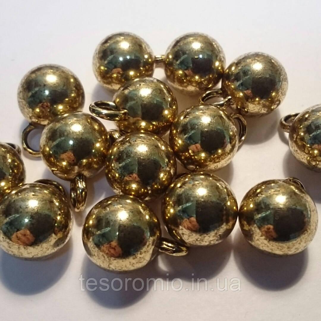 Пуговица металлическая сфера на ножке, цвет винтажное золото, диаметр 10 мм